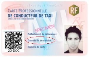 Nouvelle carte professionnelle de taxi