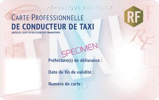 La carte professionnelle de taxi